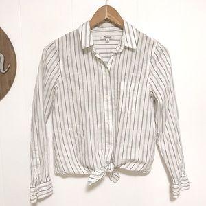 Madewell Women's tie front shirt in Darcy stripe